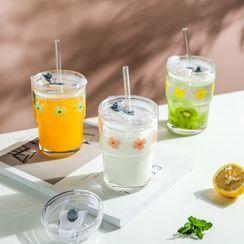 Kawa Simaya - Print Glass Drinking Cup with Straw