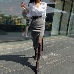 DABAGIRL - Belt-Detail Slit-Hem Long Pencil Skirt