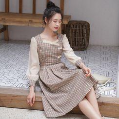 Charbon - 泡泡袖格子A字連衣中裙