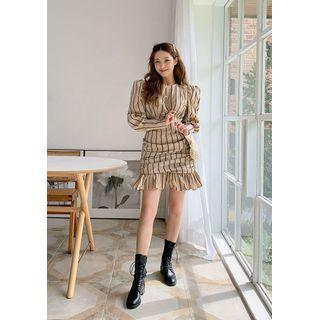 chuu - Puff-Shoulder Ruched Striped Dress