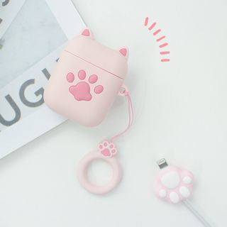 Hachi - Set: Cat Paw AirPods Case Cover + USB Cable Protector