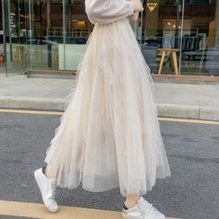 Ewane - Ruffle Midi A-Line Mesh Skirt