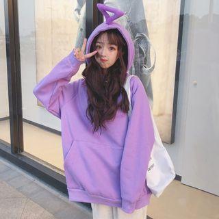 Ilda - Long-Sleeve Plain Hooded Pullover