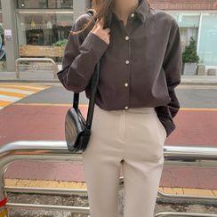 CHERRYKOKO - Basic Cotton Plain Shirt