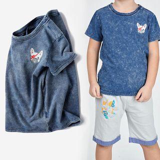 Happy Go Lucky(ハッピーゴーラッキー) - Kids Short-Sleeve Dog Print T-Shirt