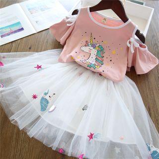 Cuckoo - Kids Set: Short-Sleeve T-Shirt + A-line Skirt