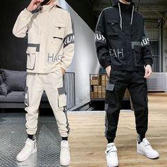 Andrei - Set: Color Block Lettering Hooded Zip Jacket + Cargo Pants
