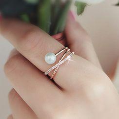True Glam - Faux Pearl Rhinestone Layered Ring