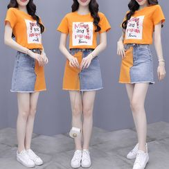 CUBABE - Set: Short-Sleeve Lettering T-Shirt + Color Block Denim A-Line Mini Skirt