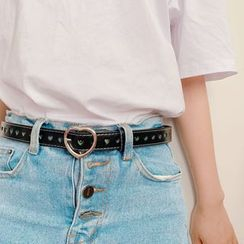 Hello minto - Heart Buckled Faux Leather Belt