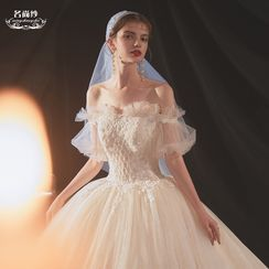 MSSBridal - Embroidered Mesh Off-Shoulder Wedding Ball Gown