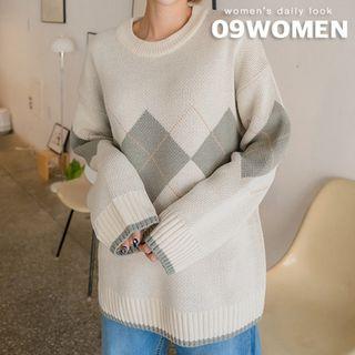 Seoul Fashion - PLUS SIZE Argyle-Patterned Knit Top
