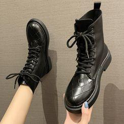Yuki Yoru - Woven Lace-Up Short Boots