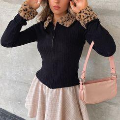 Sosana - 豹紋印花邊拉鏈開衫