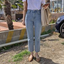 HOTPING - Washed Straight-Cut Jeans