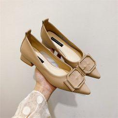kokoin - 粗跟饰扣尖头平跟鞋