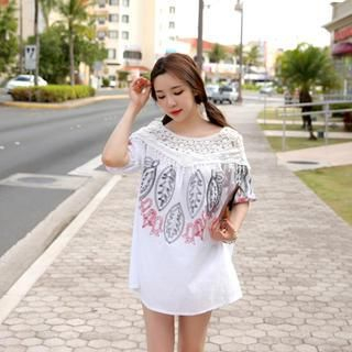 Cherryville - Embroidered Lace-Trim Tunic