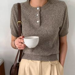 MERONGSHOP - Colored Short-Sleeve Knit Henley