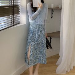 MAVE - 细肩带碎花A字连衣中裙 / 开衫