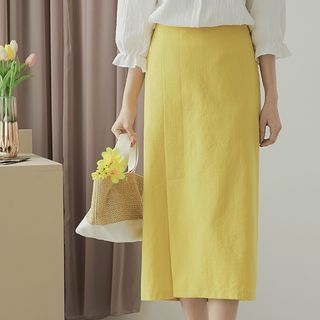 JUSTONE - Wrap-Front Slit Long H-Line Skirt