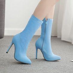 Niuna - Pointy Stiletto Heel Mid-Calf Boots