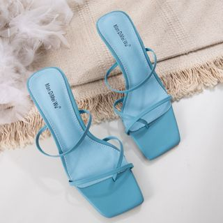 Anran - Square-Toe High-Heel Slide Sandals