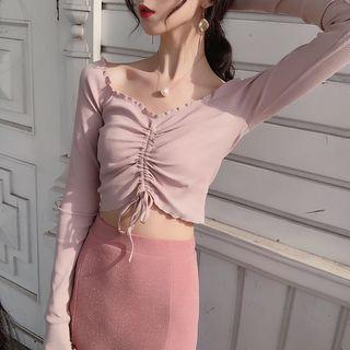 Karnel - Off Shoulder Lace Up Long-Sleeved Top