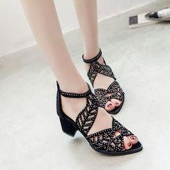 MANMANNI - Block Heel Perforated Sandals