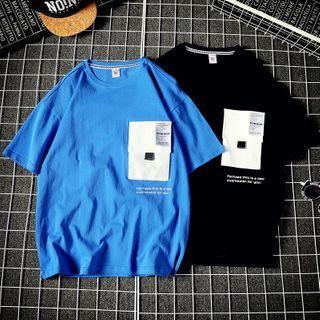 Fizze - Short-Sleeve Lettering Pocketed T-Shirt
