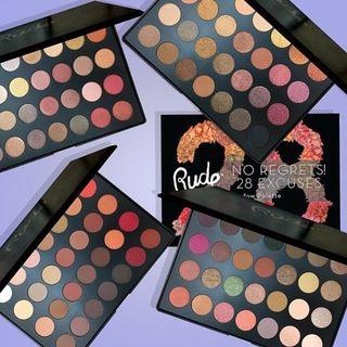 RUDE - No Regrets! 28 Excuses Eyeshadow Palette (4 Colors), 42g
