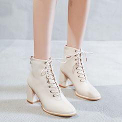 Siji - Block Heel Lace-Up Short Boots