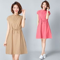 RAIN DEER - Cap-Sleeve Stand-Collar Buttoned A-Line Dress