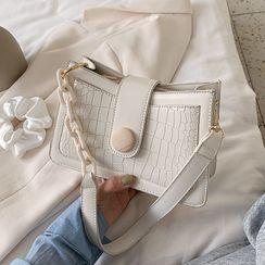 BAGSHOW - Croc Grain Panel Shoulder Bag