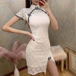 Elmiko - Traditional Chinese Short-Sleeve Contrast Trim Lace Mini Sheath Dress