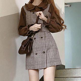 Aumoti - Ruffle Trim Blouse / Plaid Mini Overall Dress