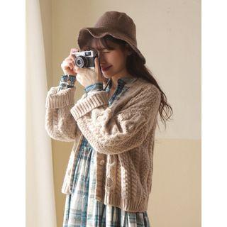 GOROKE - Drop-Shoulder Cable-Knit Cardigan