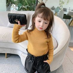 Ruban - Kids Long-Sleeve Turtleneck Plain Ruffle Trim Top