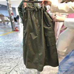 Kaypray - Drawstring Midi A-Line Skirt
