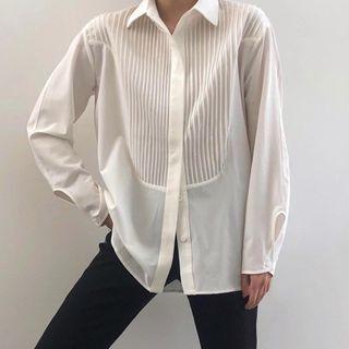 Jeniyo - Long-Sleeve Striped Panel Shirt