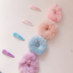 Hello minto - Set : Fluffy Hair Tie + Hair Clips