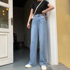 monroll - Washed Wide-Leg Jeans