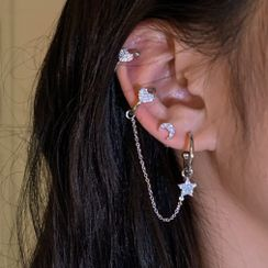 Princess Cat - Set of 6 : Moon & Star Rhinestone Earring / Cuff Earring