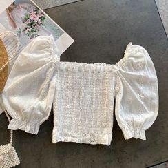 Lucuna - 泡泡袖短款襯衫