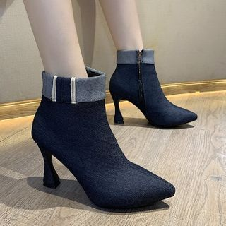 RE: 5 - Chunky Heel Denim Short Boots