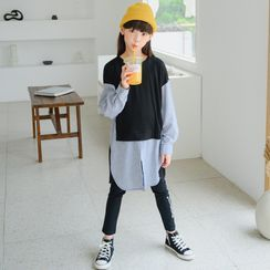 Cynanne - Mock Two-Piece Long-Sleeve T-Shirt / Leggings
