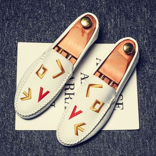 B-Z - Faux Leather Embroidered Moccasins