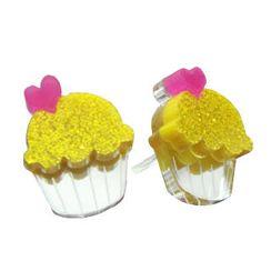 Sweet & Co. - Sweet Glitter Yellow Mirror Cupcake Stud Earrings