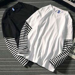 COFE - Mock Two-Piece Long-Sleeve Striped Panel T-Shirt