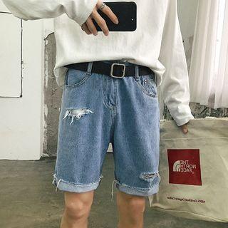 POSI(ポシ) - Ripped Wide-Leg Denim Shorts