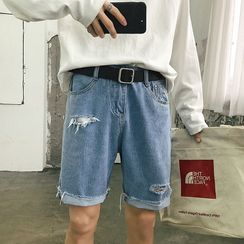 POSI - Ripped Wide-Leg Denim Shorts